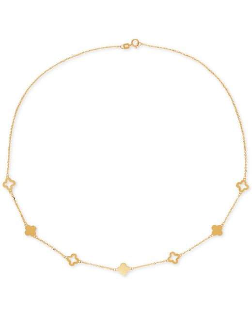 Macy's | Metallic Openwork And Solid Clover Collar Necklace In 10k Gold | Lyst
