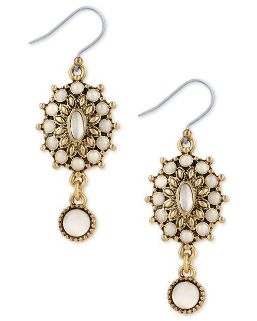 Lucky Brand   Metallic Squash Blossom Mother-of-pearl Drop Earrings   Lyst