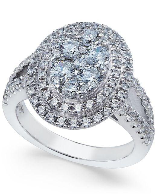 Arabella - Metallic Swarovski Zirconia Oval Cluster Ring In Sterling Silver - Lyst