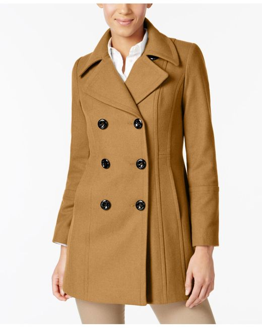 Anne Klein | Natural Double-breasted Wool-blend Peacoat | Lyst