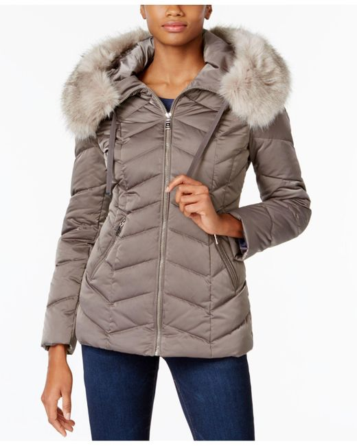 T Tahari | Multicolor Faux-fur-trim Hooded Coat | Lyst