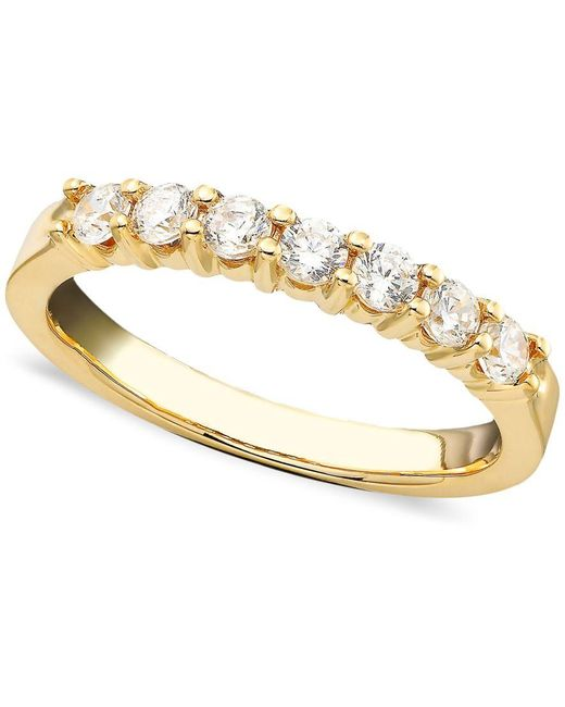 Macy's | Metallic Seven Diamond Band Ring In 14k Yellow Or White Gold (1/2 Ct. T.w.) | Lyst