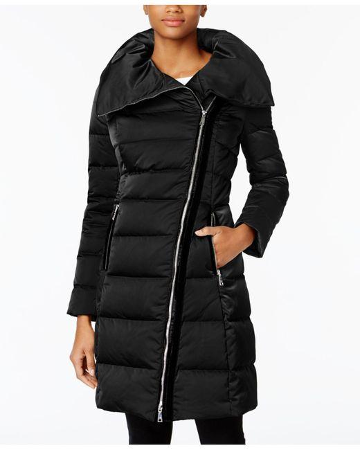 T Tahari | Black Velvet-trim Asymmetrical Down | Lyst
