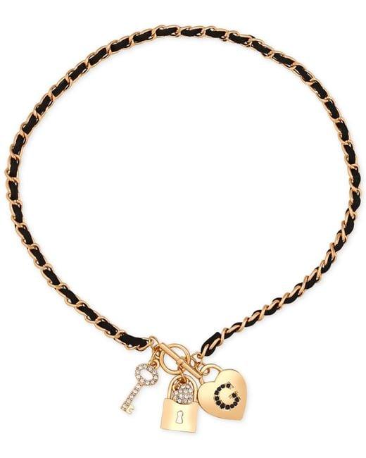 Guess | Metallic Gold-tone Pavé Charm Woven Faux Suede Bracelet | Lyst