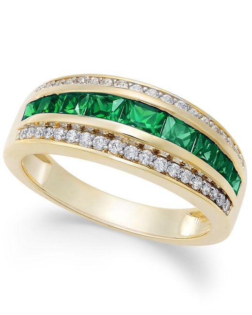 Macy's - Green Sapphire (1-1/10 Ct. T.w.) & Diamond (1/6 Ct. T.w.) Ring In 14k Gold (also Emerald And Ruby) - Lyst