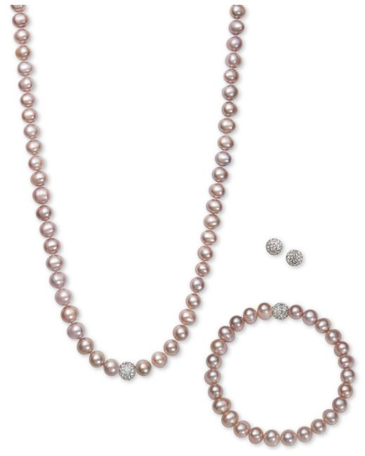 Macy's | White, Gray Or Pink Cultured Freshwater Pearl (7mm) And Crystal Collar Jewelry Set | Lyst