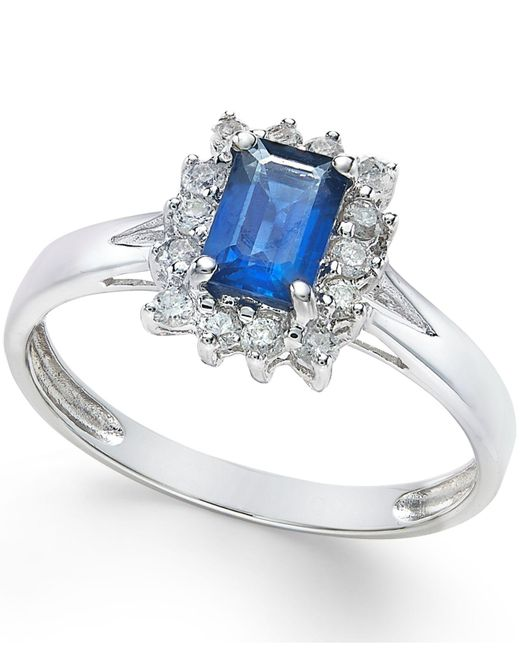 Macy's - Metallic Sapphire (9/10 Ct. T.w.) And Diamond (1/3 Ct. T.w.) Ring In 14k White Gold - Lyst