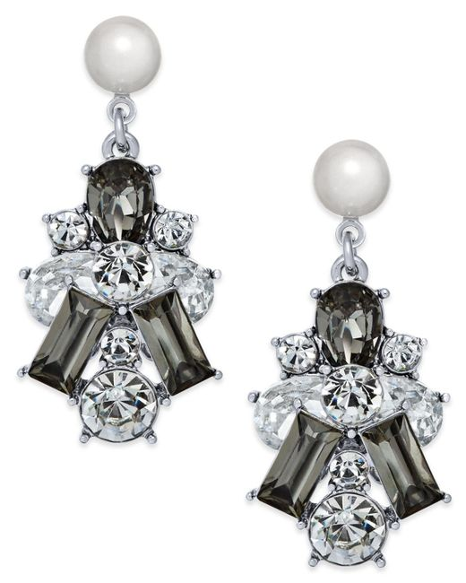 Charter Club   Metallic Silver-tone Clear & Jet Crystal With Imitation Pearl Drop Earrings   Lyst