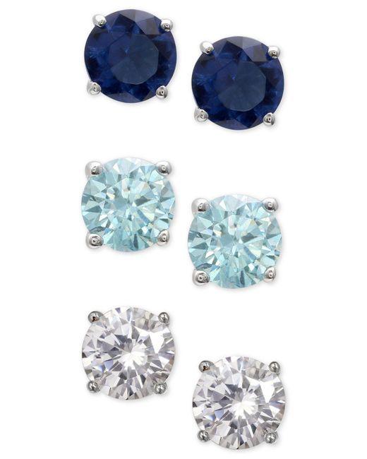Giani Bernini | Metallic 3-pc. Set Cubic Zirconia Multicolor Stud Earrings In Sterling Silver | Lyst