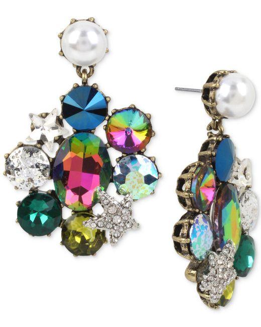 Betsey Johnson   Blue Gold-tone Multi-stone & Imitation Pearl Drop Earrings   Lyst