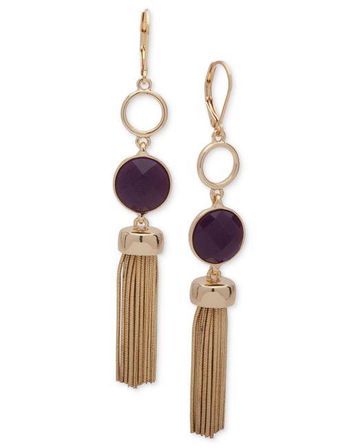 Nine West | Metallic Gold-tone Purple Stone & Chain Tassel Drop Earrings | Lyst