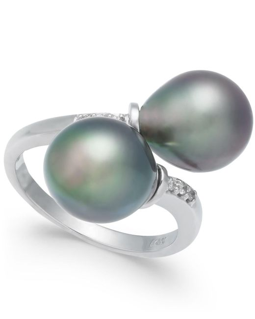 Macy's - Cultured Tahitian Black Pearl (9mm) And Diamond Accent Bypass Ring In 14k White Gold - Lyst