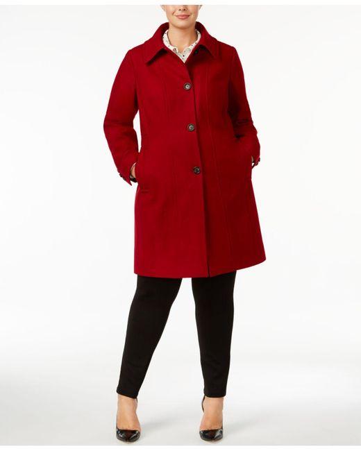 Anne Klein | Red Plus Size Walker Coat | Lyst