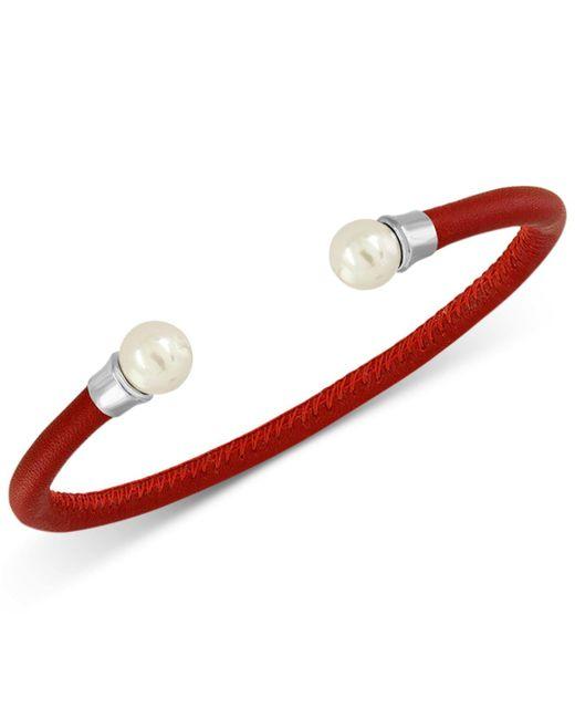 Majorica   Silver-tone Imitation Pearl Red Leather Bangle Bracelet   Lyst