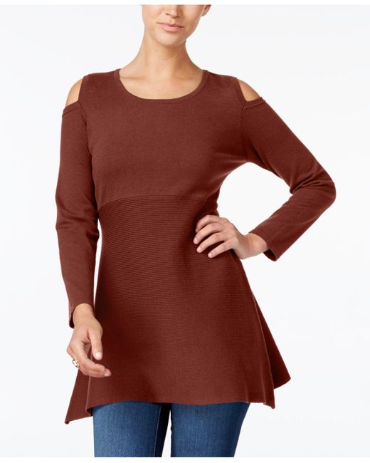 Style & Co. | Red Petite Cold-shoulder Tunic Sweater | Lyst