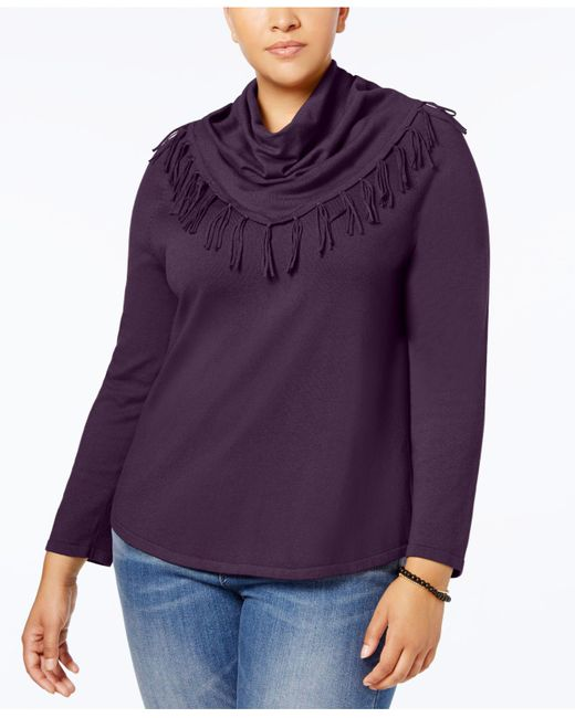 Style & Co. | Blue Plus Size Fringed Cowl-neck Sweater | Lyst