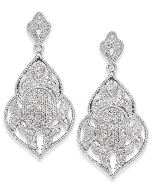 Macy's - Metallic Diamond Pavé Drop Earrings (1/4 Ct. T.w.) In Sterling Silver - Lyst