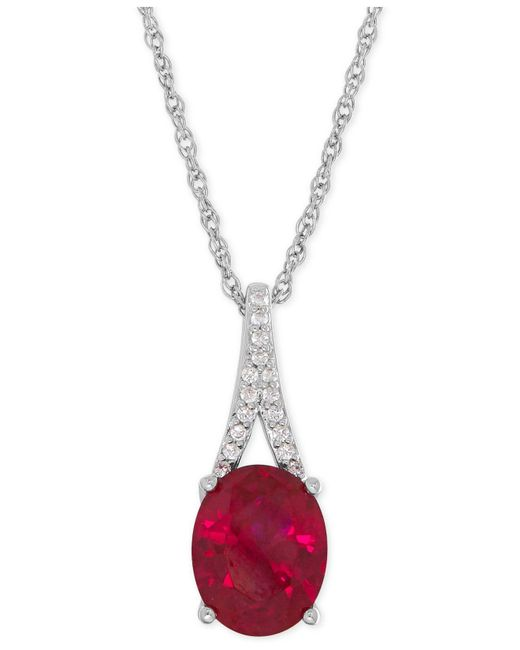 Macy's - Metallic Lab-created Ruby (3-5/8 Ct. T.w.) And White Sapphire Accent Pendant Necklace In Sterling Silver - Lyst
