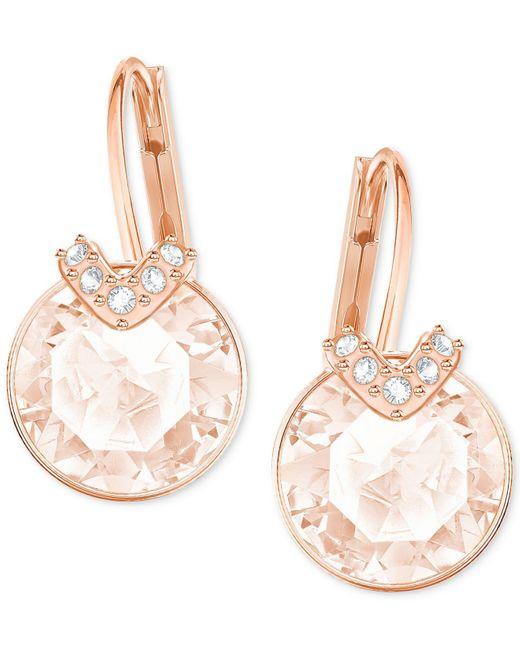 Swarovski   Metallic Clear & Colored Crystal Drop Earrings   Lyst