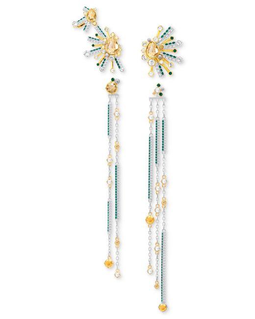 Swarovski   Metallic Two-tone 2-pc. Set Multicolor Crystal Ear Crawler & Linear Drop Earrings Set   Lyst