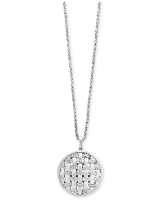 Effy Collection   Metallic Diamond Weave Disc Pendant Necklace (1/4 Ct. T.w.) In Sterling Silver   Lyst