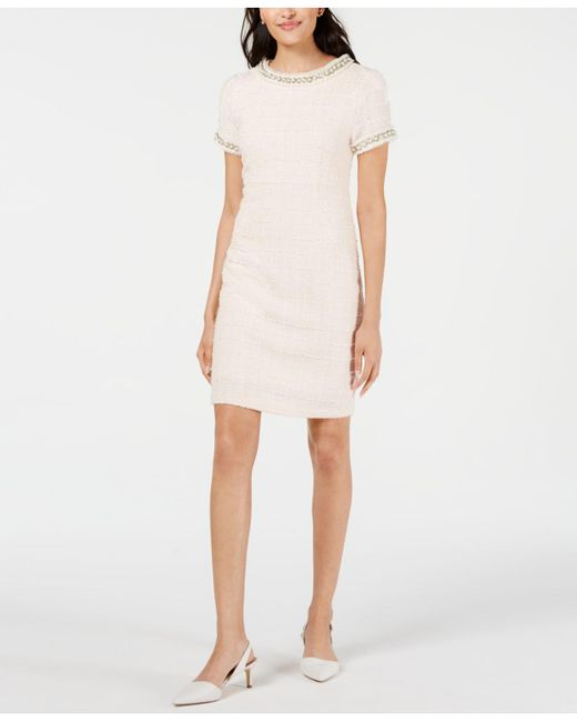 159fe679 Betsey Johnson - Pink Imitation Pearl Bouclé Tweed Dress - Lyst ...