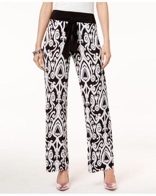 INC International Concepts - Black I.n.c. Printed Tie-waist Pants, Created For Macy's - Lyst