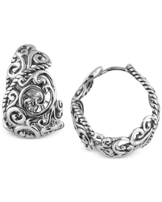 Carolyn Pollack - Metallic Rope Swirl Hoop Earrings In Sterling Silver - Lyst