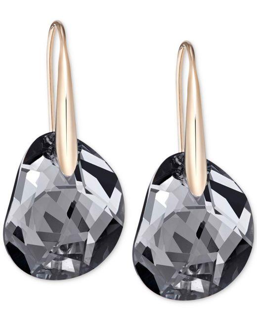 Swarovski - Pink Rose Gold-tone Faceted Black Crystal Earrings - Lyst