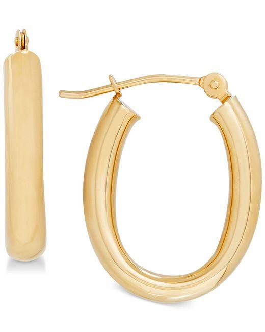 Macy's - Metallic Polished Tube Oval Hoop Earrings In 10k Gold, 4/5 Inch - Lyst