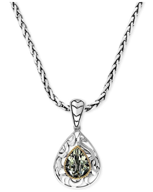 Effy Collection | Metallic Green Quartz Pear Pendant Necklace In 18k Gold And Sterling Silver (2-3/4 Ct. T.w.) | Lyst