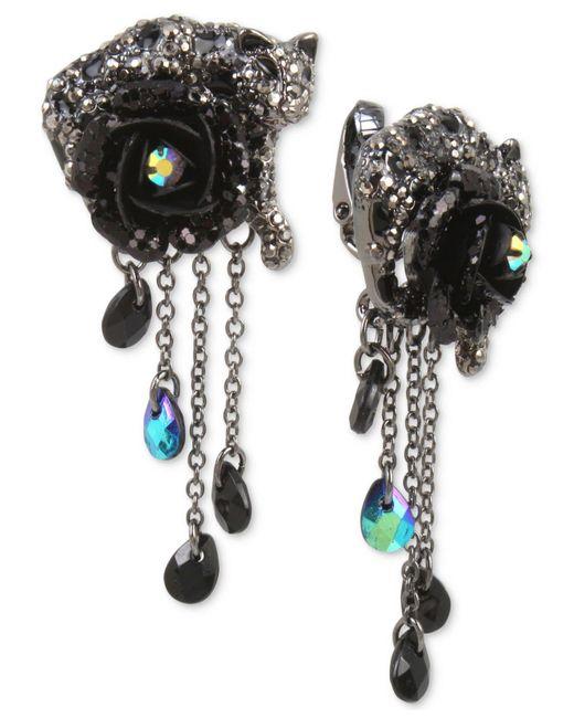 Betsey Johnson | Hematite-tone Black & Gray Pavé Flower & Jaguar Clip-on Drop Earrings | Lyst
