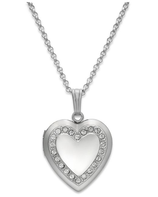 Macy's - Metallic Crystal Heart Locket Necklace In Sterling Silver - Lyst