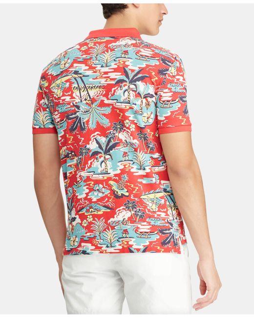 6c34b12b6dd44 Lyst - Polo Ralph Lauren Classic-fit Mesh Hawaiian Polo Shirt in Red ...