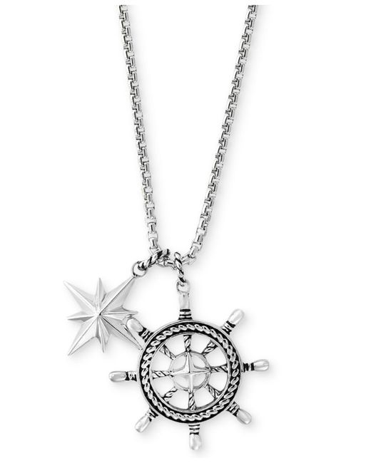 Effy Collection | Metallic Men's Ship's Wheel And Star Pendant Necklace In Sterling Silver for Men | Lyst