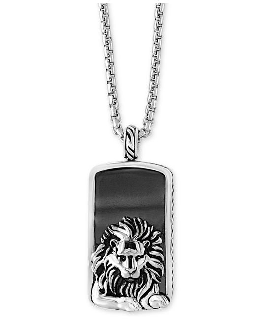 Effy Collection - Metallic Men's Hematite (36 X 20mm) Lion Dog Tag Pendant Necklace for Men - Lyst