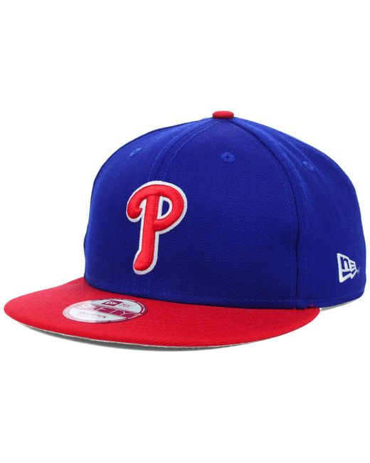 low cost cebc6 20680 ... get ktz blue philadelphia phillies mlb 2 tone link 9fifty snapback cap  for men lyst 2abe7 ...