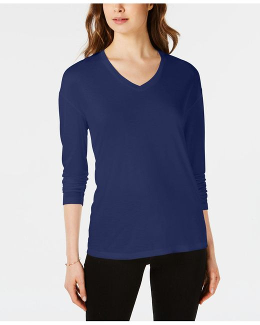 Maison Jules - Blue Dropped Shoulder V-neck Jersey Top, Created For Macy's - Lyst