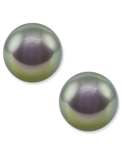 Majorica | White Pearl Earrings, Sterling Silver Gray Organic Man Made Pearl Studs | Lyst