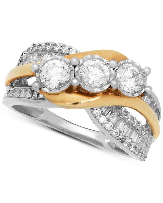 Macy's - Metallic Diamond Two-tone Overlap Ring (1-1/2 Ct. T.w.) In 14k Gold & White Gold - Lyst