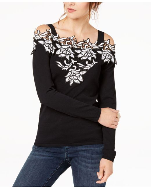 INC International Concepts - Black Appliqué Cold-shoulder Sweater - Lyst
