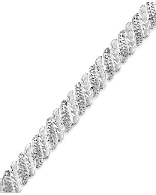Macy's - Metallic Diamond Accent Swirl Bracelet In Sterling Silver-plated Bronze - Lyst