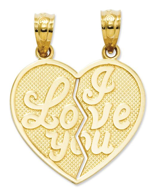 Macy's | Metallic 14k Gold Charm, I Love You Heart Break-apart Reversible Charm | Lyst