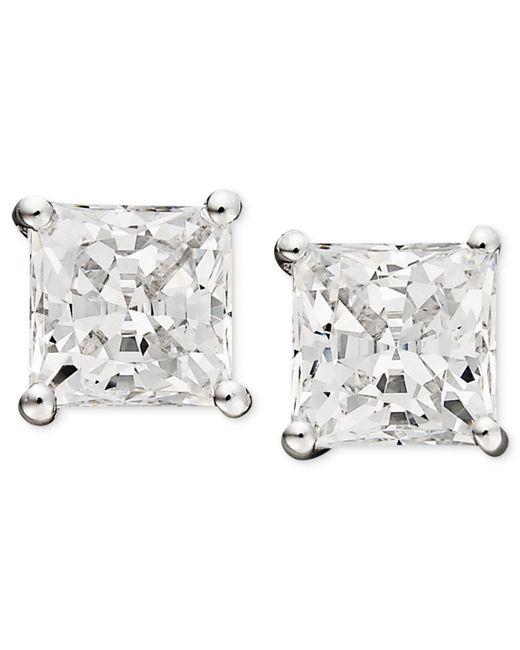 Arabella - 14k White Gold Earrings, Swarovski Zirconia Princess Cut Stud Earrings (3-3/4 Ct. T.w.) - Lyst