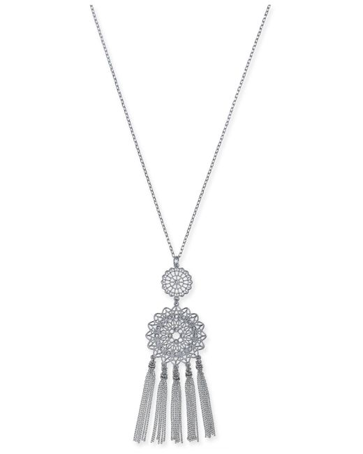 INC International Concepts - Metallic Inc International Concept Silver-tone Crystal Filigree Disc & Chain Tassel Pendant Necklace, Created For Macy's - Lyst