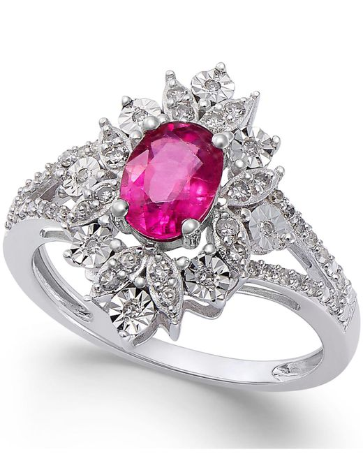 Macy's - Red Ruby (1 Ct. T.w.) And Diamond (1/5 Ct. T.w.) Split Shank Ring In 14k White Gold - Lyst