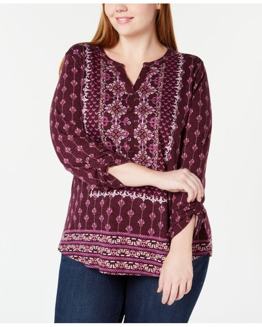 Style & Co. - Red Petite Mixed-print Split-neckline Top, Created For Macy's - Lyst