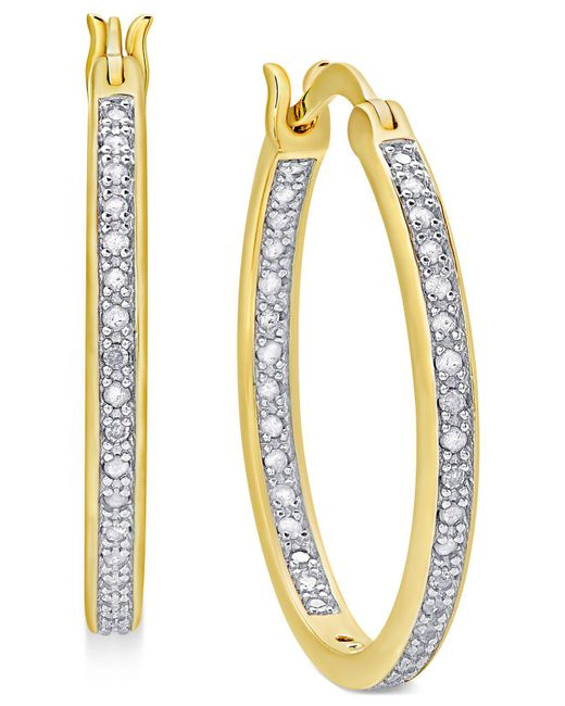 Macy's | Metallic Diamond In And Out Hoop Earrings (1/2 Ct. T.w.) | Lyst