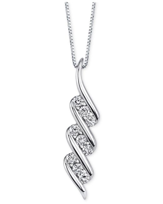 Sirena - Diamond Swirled Pendant Necklace (1/3 Ct. T.w.) In 14k White Gold - Lyst