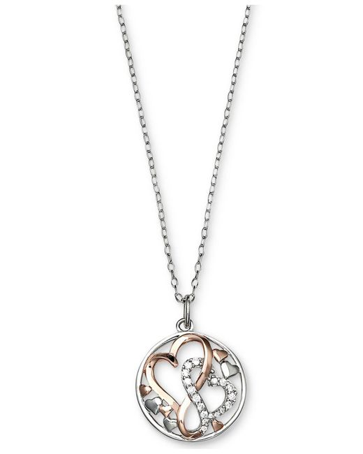 Giani Bernini - Metallic Cubic Zirconia Intertwining Hearts Pendant Necklace In Sterling Silver And 18k Rose Gold-plate - Lyst